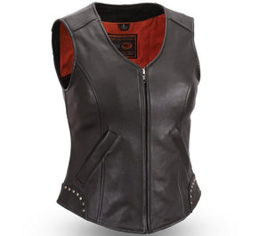 Taylor - Women's Studded Motorcycle Leather Vest - FIL560NOC - Ghost Rider Leather