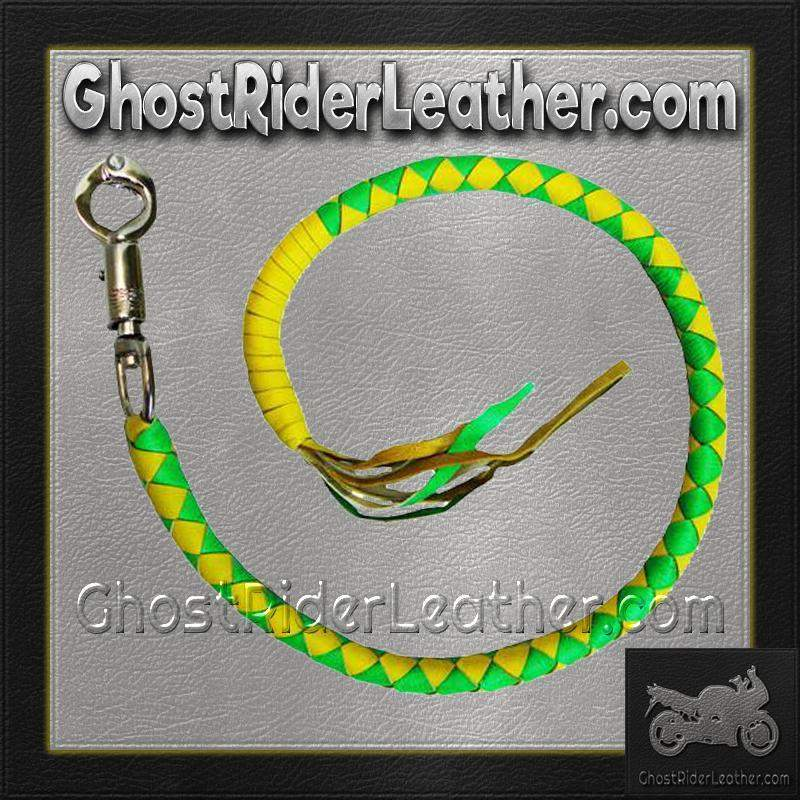 Get Back Whip in Green and Yellow Leather - Motorcycle Accessories - SKU GRL-VA400GY-VA - Ghost Rider Leather