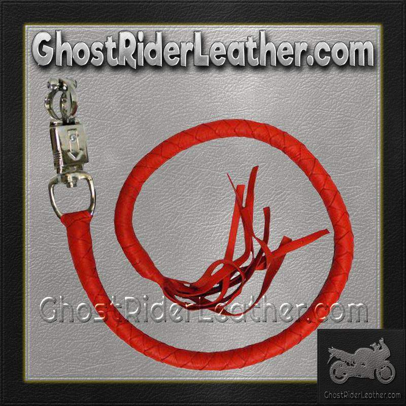 Get Back Whip in Red Leather - Motorcycle Accessories - SKU GRL-VA400R-VA-get back whip-Ghost Rider Leather