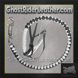 Get Back Whip in Gray and White Leather - Motorcycle Accessories - SKU GRL-VA400WGR-VA-get back whip-Ghost Rider Leather