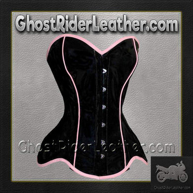 Leather Corset With Pink Trim and Back Laces / SKU GRL-VC1301-VL - Ghost Rider Leather