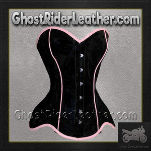 Leather Corset With Pink Trim and Back Laces / SKU GRL-VC1301-VL-ladies leather vest-Ghost Rider Leather