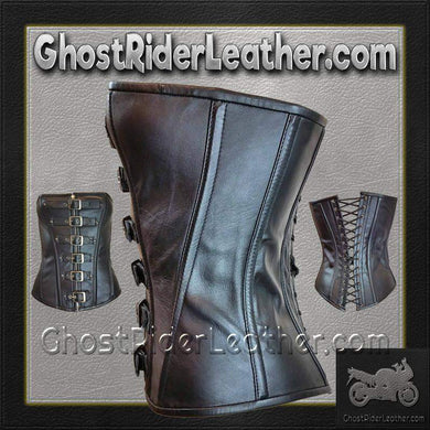 Leather Corset With 6 Buckle Zip Front and Back Laces / SKU GRL-VC1317-VL-ladies leather vest-Ghost Rider Leather