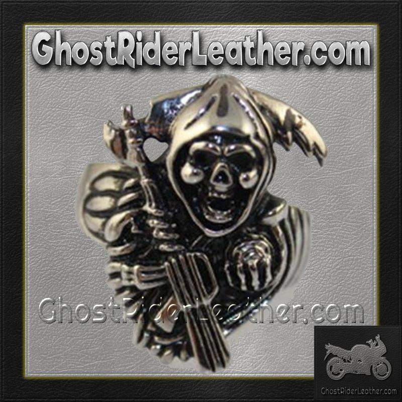 Mens Stainless Steel Tattoos Grim Reaper Ring / SKU GRL-VJ1030-VL-biker boot chains-Ghost Rider Leather