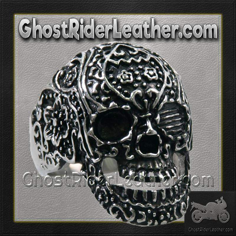 Mens Stainless Steel Tattoos Gone Wild Skull Ring / SKU GRL-VJ1040-VL-biker boot chains-Ghost Rider Leather