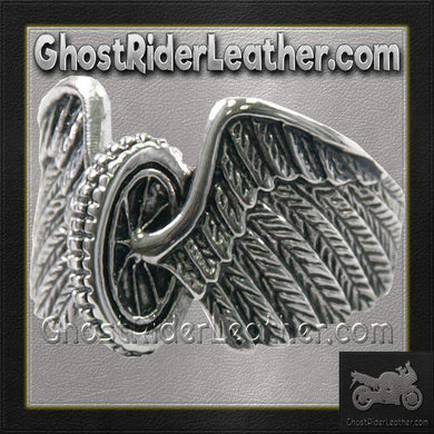 Mens Stainless Steel Winged Wheel Ring / SKU GRL-VJ1041-VL-biker boot chains-Ghost Rider Leather
