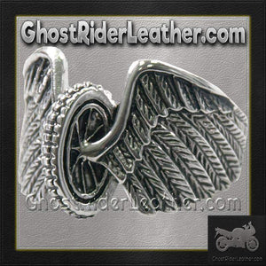 Mens Stainless Steel Winged Wheel Ring / SKU GRL-VJ1041-VL - Ghost Rider Leather