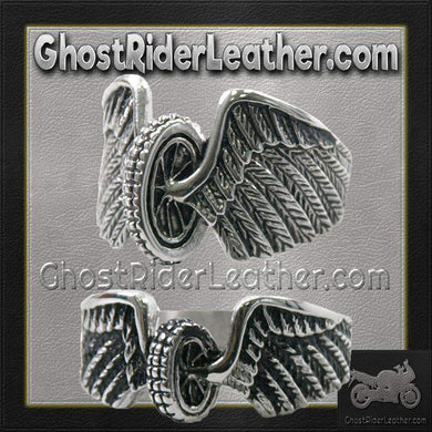 His and Hers Stainless Steel Winged Wheel Rings / SKU GRL-VJ1042-VJ1041-VL-biker boot chains-Ghost Rider Leather