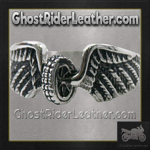 Ladies Stainless Steel Winged Wheel Ring / SKU GRL-VJ1042-VL-biker boot chains-Ghost Rider Leather