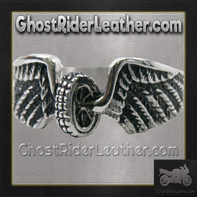 Ladies Stainless Steel Winged Wheel Ring / SKU GRL-VJ1042-VL - Ghost Rider Leather