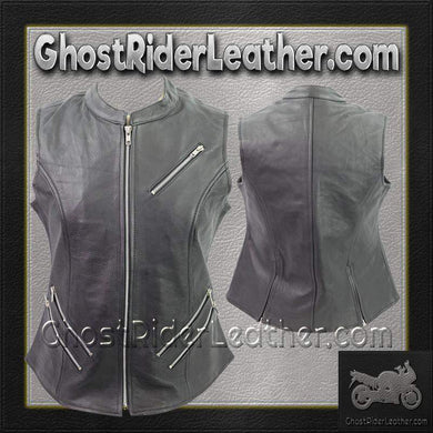 Ladies Premium Leather Zipper Motorcycle Vest / SKU GRL-VL1028-VL-Ladies Vest-Ghost Rider Leather