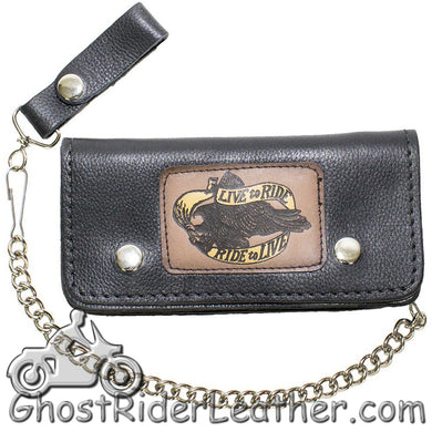 7.75 inch Heavy Duty Black Leather Chain Wallet -Live To Ride - Bifold - SKU GRL-WALLET2-11HD-DL - Ghost Rider Leather