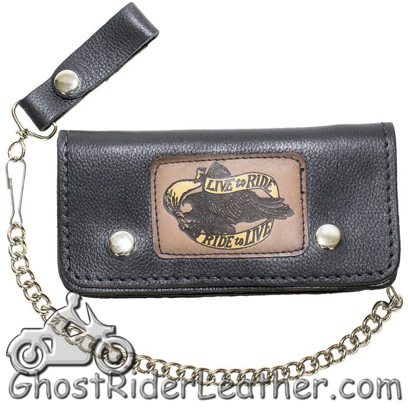 7.75 inch Heavy Duty Black Leather Chain Wallet -Live To Ride - Bifold - SKU GRL-WALLET2-11HD-DL-chain wallet-Ghost Rider Leather