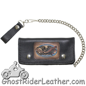 7.75 inch Heavy Duty Black Leather Chain Wallet - American Pride - Bifold - SKU GRL-WALLET3-11HD-DL - Ghost Rider Leather