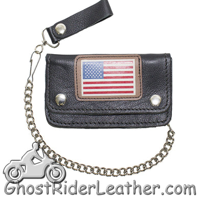 Heavy Duty Leather Chain Wallet with USA Flag - SKU GRL-WALLET9-11-HD-DL - Ghost Rider Leather