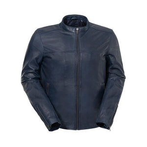Balor - Men's Midnight Blue Leather Racer Style Jacket - WBM2190 - Ghost Rider Leather