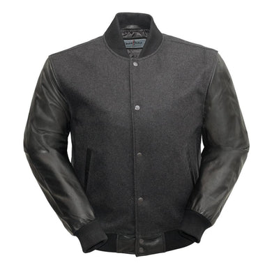 Varsity - Men's Woolen Jacket with Leather Sleeves - Ghost Rider Leather