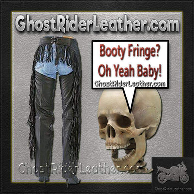 Ladies Booty Fringe Leather Chaps / SKU GRL-AL2407-AL - Ghost Rider Leather