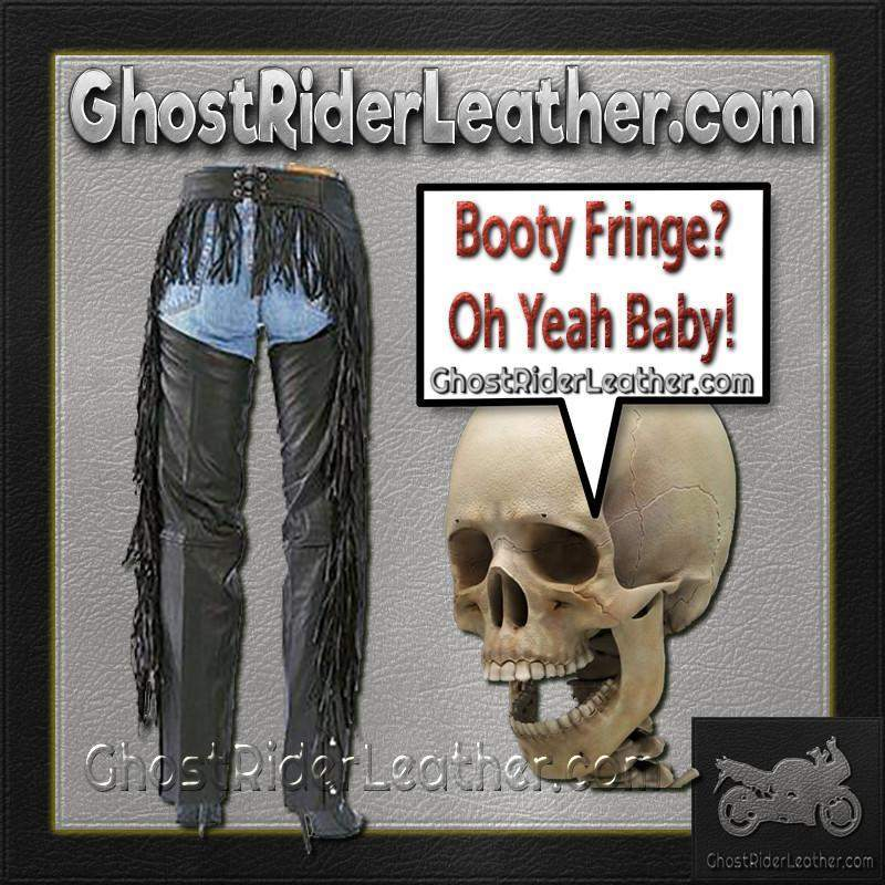Ladies Booty Fringe Leather Chaps / SKU GRL-AL2407-AL-leather chaps-Ghost Rider Leather