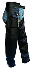 Motorcycle Leather Chaps With Cargo Pocket - SKU GRL-AL2408-AL - Ghost Rider Leather