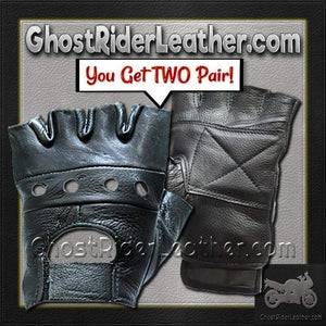 Two Pair of Fingerless Leather Gloves / SKU GRL-GL2008-X2-DL - Ghost Rider Leather