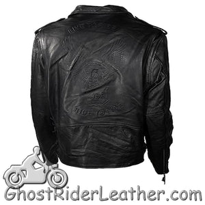 Embossed Black Eagle Motorcycle Jacket with Side Laces and Live To Ride - SKU GRL-MJ703-11-DL - Ghost Rider Leather