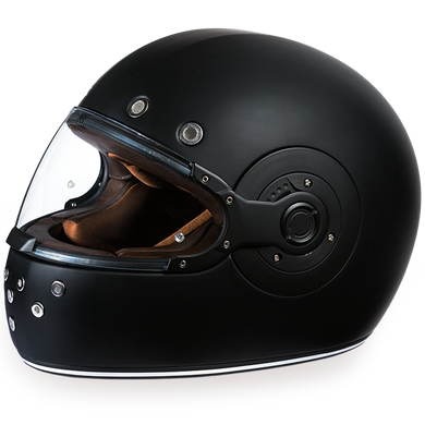 Retro Dull Black - Full Face Motorcycle Helmet - SKU GRL-R1-B-DH - Ghost Rider Leather