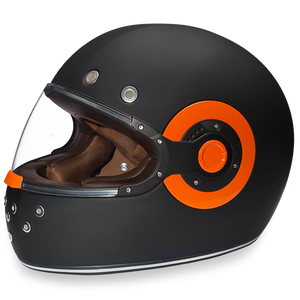 Daytona Retro Dull Black With Orange Accents - Full Face Motorcycle Helmet - SKU GRL-R1-O-DH - Ghost Rider Leather