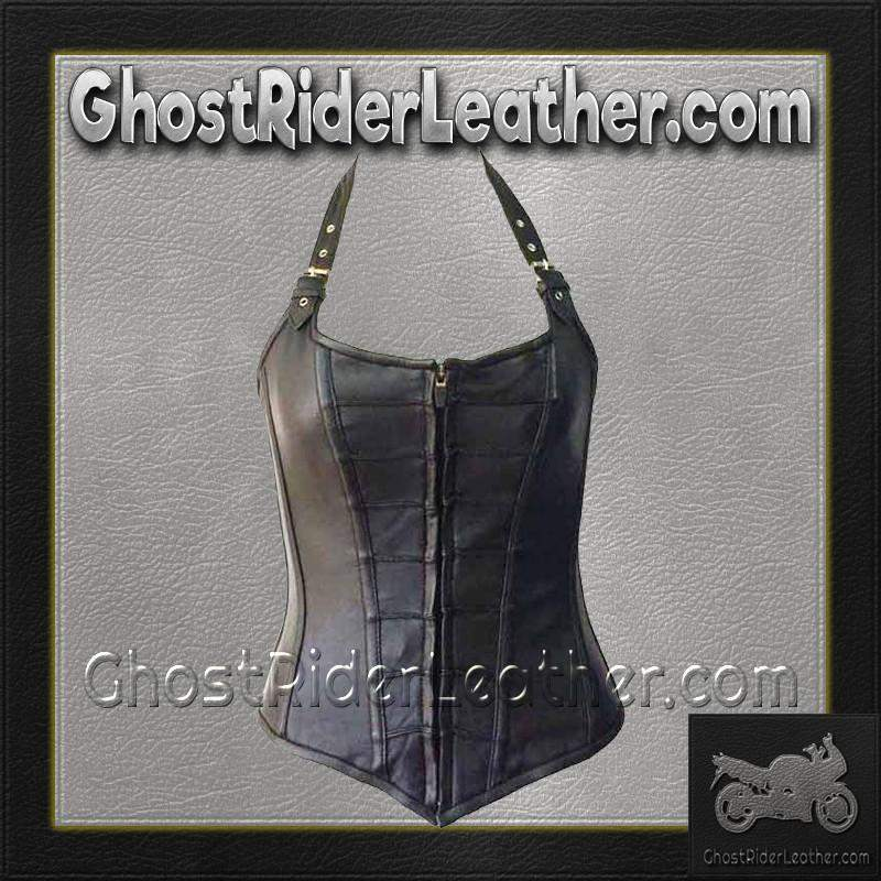 Leather Corset With Zip Front and Removable Halter Straps / SKU GRL-VC1316-VL - Ghost Rider Leather