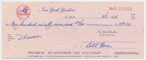 Dave Righetti Endorsed NY Yankees Paycheck