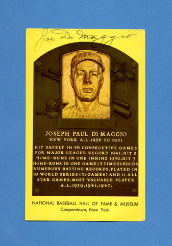 Joe DiMaggio Signed HOF Plaque Postcard