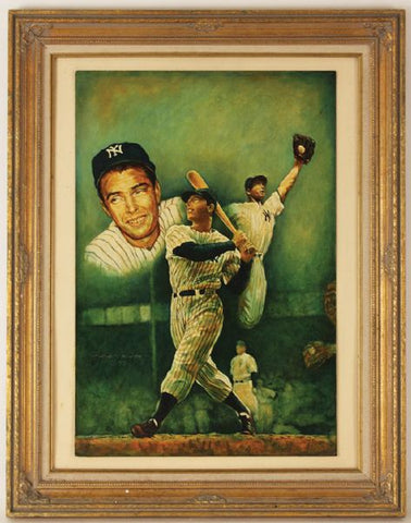 "Original Marcus Boas Signed Joe DiMaggio Back Cover Oil Painting for ""Monroe/DiMaggio"""