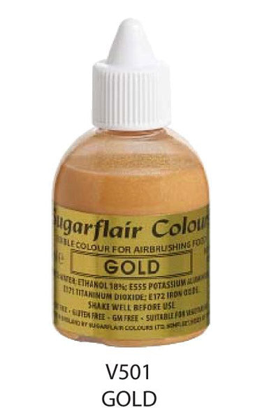 gold airbrush color 60ml, sugarflair