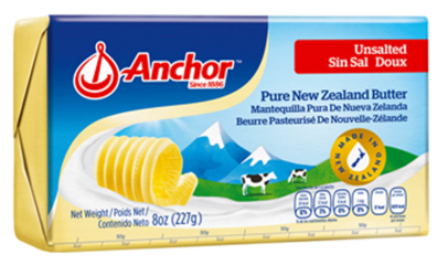 butter unsalted 227g, anchor (product may melt during transit)