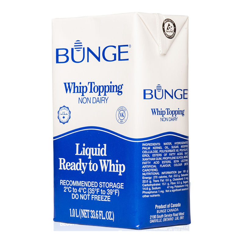 whipping cream non dairy 1L, bunge (product may melt during transit)