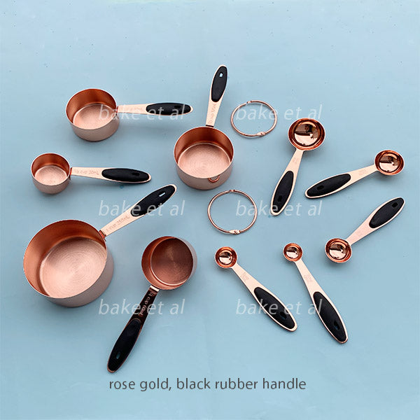 measuring cup + spoon set rose gold black