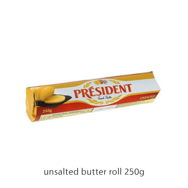 butter roll unsalted 250g, president (product may melt during transit)