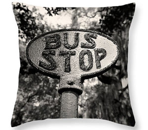 Andy Moine, Black and White Throw Pillow, Bus Stop Sign