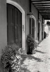 Black & White Photo, New Orleans Louisiana, Burgundy Street, French Quarter, Gas Lamps