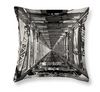 Double Decker Railway Bridge Tunnel, New Zealand, Designer Black & White Throw Pillow