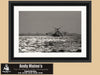 Shrimping Boat, Charleston Harbor, South Carolina, Black and White Photo, Framed Print