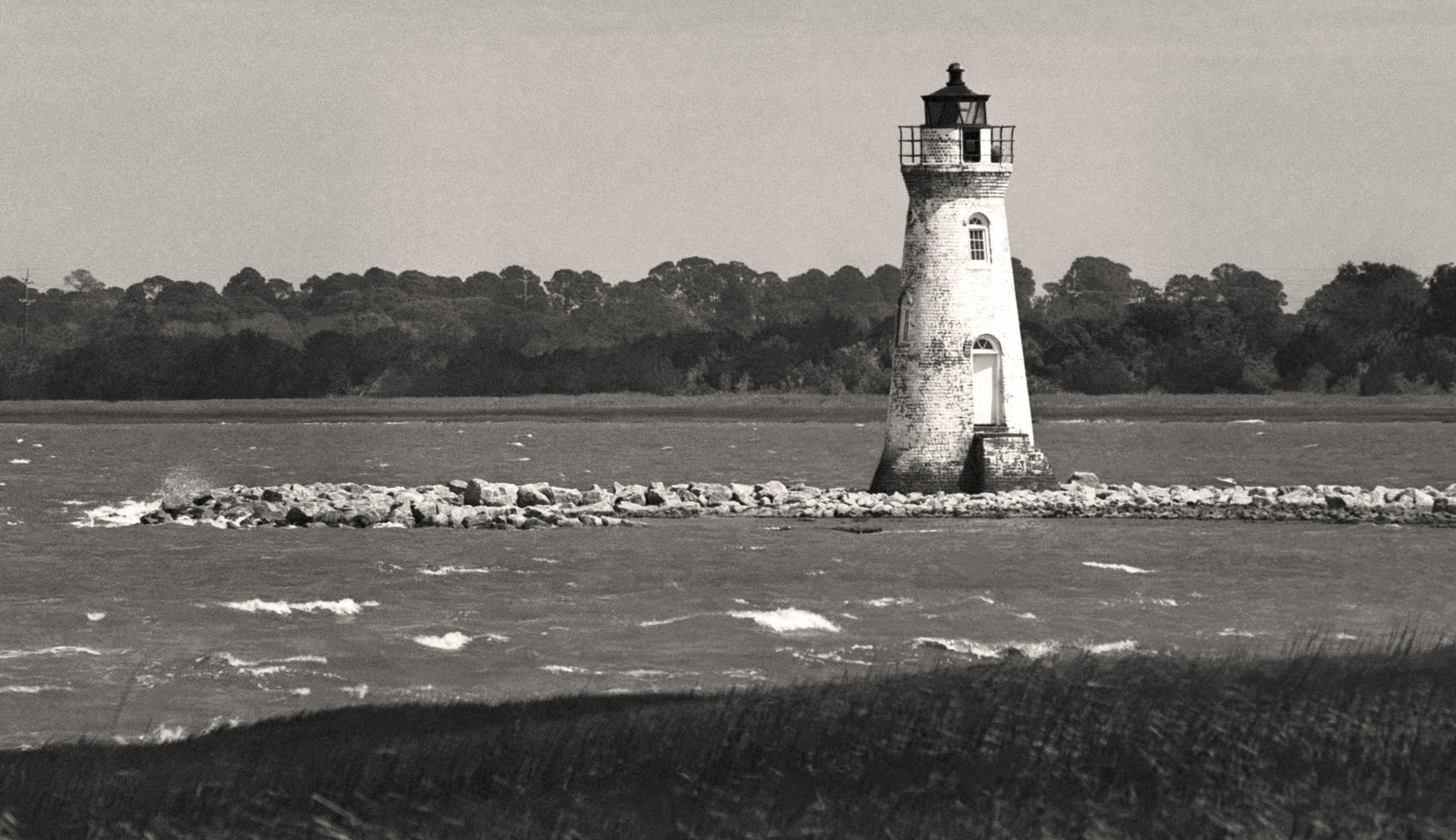 Cockspur lighthouse tybee island georgia black white photograph fine art black and white photography by the andy moine company