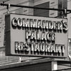 Designer Black & White Throw Pillow - Commanders Palace Restaurant Retro Sign, New Orleans Louisiana