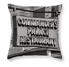 Black & White Throw Pillow - Commanders Palace Restaurant Retro Sign, New Orleans Louisiana