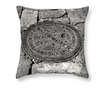 Designer Black & White Throw Pillow - New Orleans Crescent City Box Watermeter, Louisiana