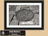 New Orleans Crescent City Box, Garden District, Water Meter, Black and White Photo, Framed Print