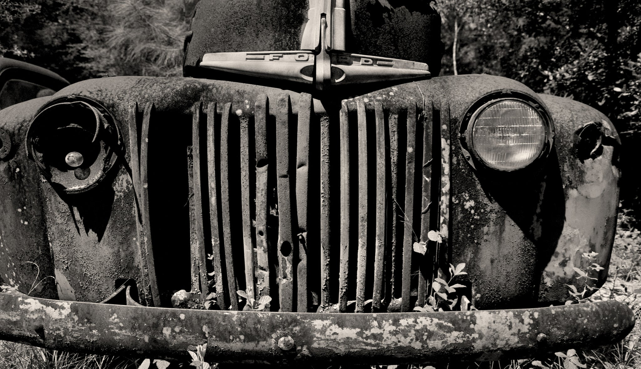 1947 ford f100 pickup truck black and white photo