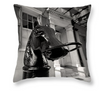 Designer Black & White Throw Pillow - Horse Head Hitching Post, French Quarter, New Orleans