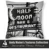 Designer Half Moon Bar Sign, Designer Black & White Throw Pillow, Neon Lights, New Orleans - Black and White Photography by Andy Moine