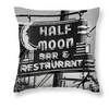 Designer Half Moon Bar Sign, Designer Black & White Throw Pillow, Neon Lights, New Orleans